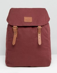 Asos Backpack In Canvas With Contrast Straps Burgundy Red