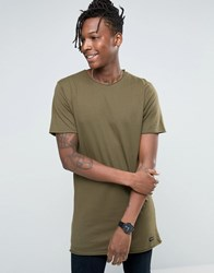 Only And Sons Longline Raw Edge T Shirt Khaki Green