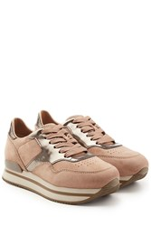 Hogan Suede And Leather Platform Sneakers Rose