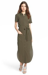 Astr Short Sleeve Shirtdress Green