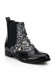 Dolce And Gabbana Embellished Wingtip Brogue Leather Boots Black