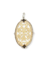 Armenta New World Oval Bone Filigree Enhancer Silver