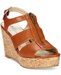 White Mountain Dharma Platform Wedge Sandals Women's Shoes Luggage