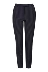Topshop Pinstripe Cigarette Trousers Navy Blue