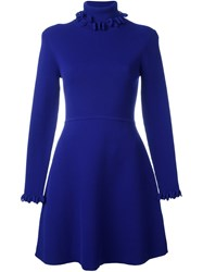 Victoria Beckham Turtleneck Sweater Dress Blue