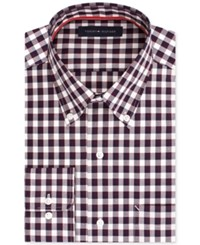Tommy Hilfiger Men's Classic Fit Non Iron Dark Red Check Dress Shirt Berry