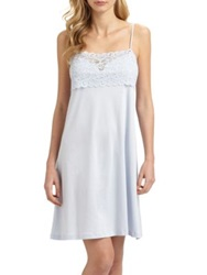 Hanro Moments Lace And Cotton Chemise Blue Glow White Black