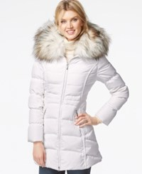 Laundry By Shelli Segal Faux Fur Hood Puffer Down Coat Real White