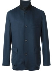Loro Piana High Standing Collar Jacket Blue