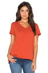 Wilt Slub Roll Sleeve Baby V Neck Tee Rust