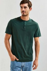 Urban Outfitters Uo Standard Fit Henley Tee Dark Green