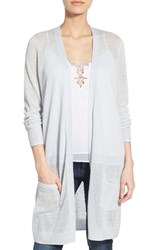 Petite Women's Halogen Long Linen Blend Cardigan Blue Illusion