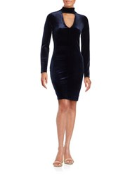 Design Lab Lord And Taylor Velvet Long Sleeve Cutout Sheath Dress Navy