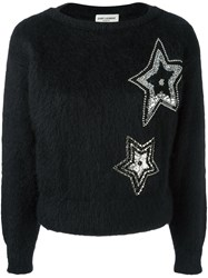 Saint Laurent Star Embroidered Textured Sweater Black