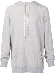 Greg Lauren Distressed Effect Hoodie Grey