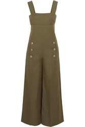 Sonia Rykiel Linen And Cotton Blend Twill Jumpsuit Green
