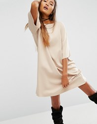 Asos Eco T Shirt Dress In Organic Cotton And Vegetable Dye Beige Pink