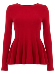 Phase Eight Maritza Peplum Knit Top Red