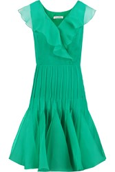 Oscar De La Renta Ruffled Silk Chiffon And Organza Dress Green