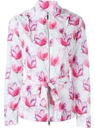 Armani Jeans Floral Print Hooded Raincoat White