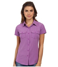 The North Face Short Sleeve Taggart Woven Shirt Magic Magenta Heather Women's Short Sleeve Button Up Purple