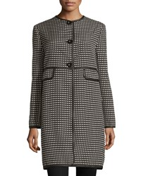 Max Studio Heart Print Jacquard Jacket Black White