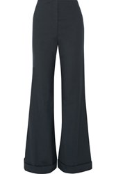 The Row Winona Stretch Wool Wide Leg Pants Blue