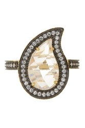 Freida Rothman 14K Gold And Rhodium Plated Sterling Silver Cz Paisley Radiance Ring Size 7 Metallic