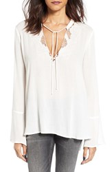 Lush Women's Crochet Trim Bell Sleeve Blouse Off White