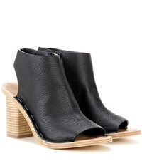 Balenciaga Leather Cut Out Ankle Boots Black