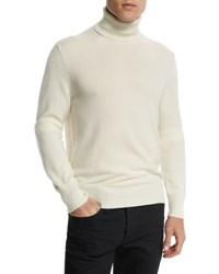 Tom Ford Classic Flat Knit Cashmere Turtleneck Sweater Ivory