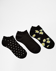 French Connection Trainer 3 Pack Socks Spotfloral