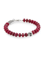 King Baby Studio Ruby And Sterling Silver Beaded Skull Bracelet Red