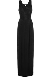 Diane Von Furstenberg Embellished Silk Evening Gown Black