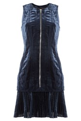3.1 Phillip Lim Zipped Velvet Dress Blue