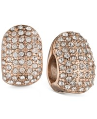 Anne Klein Rose Gold Tone Crystal Pave Wide Hoop Magnetic Clip On Earrings