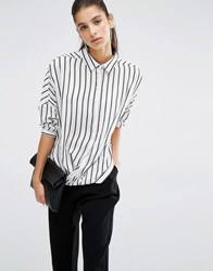 Parallel Lines Relaxed Wrap Front Shirt In Stripe Print White