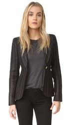 Smythe Patch Pocket Duchess Blazer Charcoal Stripe Rust