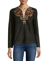 Antik Batik Preston Kurta Embroidered Top Black