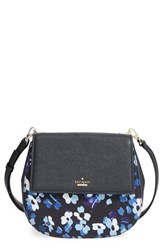 Kate Spade New York 'Cameron Street Byrdie' Floral Print Cotton And Leather Crossbody Bag Black Black Multi