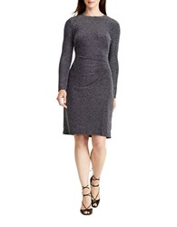 Lauren Ralph Lauren Long Sleeve Metallic Jacquard Sheath Dress Navy Silver