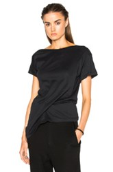 Ann Demeulemeester Short Sleeve Wrap Tee In Black
