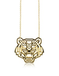 Kenzo Gold Plated And Black Lacquer Tiger Head Necklace