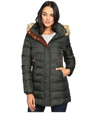 Vince Camuto Faux Fur Trim Hooded Down L8791 Hunter Cognac Women's Coat Olive