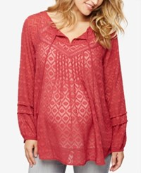 A Pea In The Pod Maternity Jacquard Tunic Antique Red