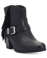 Sam Edelman Circus By Leah Fringe Buckle Block Heel Booties Women's Shoes Black