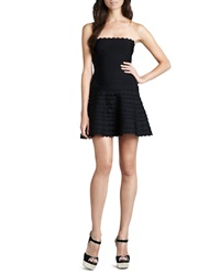 Herve Leger Scalloped Strapless Bandage Dress