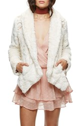 Free People Women's Embroidered Faux Fur Jacket