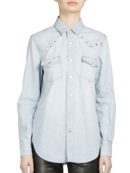 Saint Laurent Studded Shoulder Denim Western Shirt Light Blue