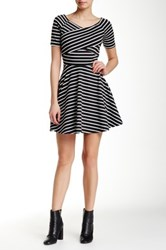 Iris Striped Fit And Flare Dress Black